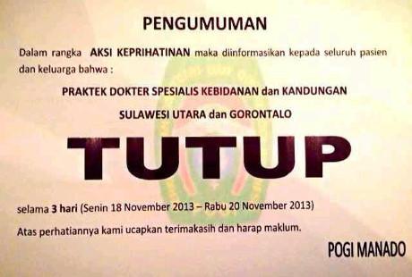 Prihatin dr Ayu, Praktik Dokter Kandungan Sulut dan Gorontalo Tutup 3 Hari