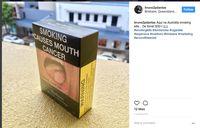 Satu lagi dari Australia. Peringatan bergambar di bungkus rokok ini menyebut merokok dapat menyebabkan kanker mulut, dengan ilustrasi mulut yang penuh jamur dan memiliki tumor. (Foto: instagram/bruno2pdantas)