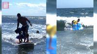 Bocah yang baru berusia 9 tahun ini pun tak kenal takut ataupun gentar. Ia menjajal hampir semua jenis olahraga yang diinginkannya. Salah satunya surfing. Baik sendirian maupun bersama Miguel. (Foto: YouTube/BBC Three)