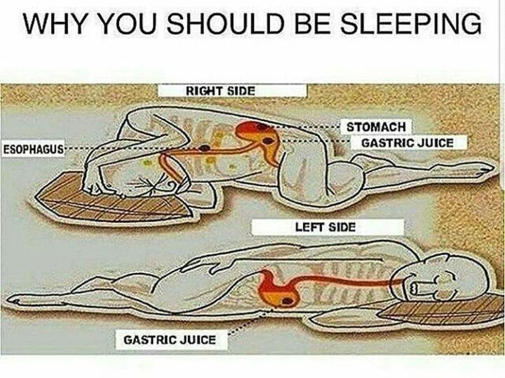 Tidur Hadap Kanan Bikin Asam Lambung Naik ke Tenggorokan?
